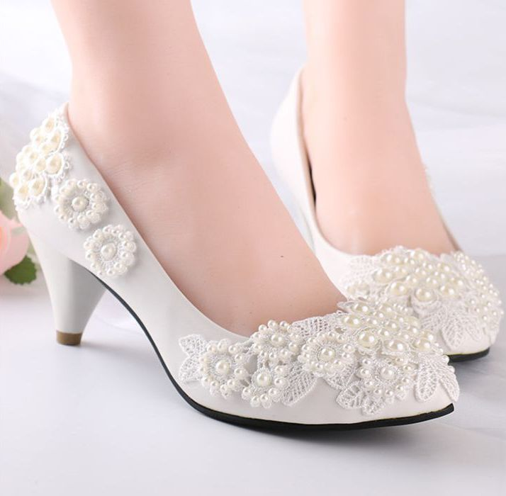 Pearls flower lace wedding shoes for women milk white light ivory female low high heeled pump shoe ladies sweet party shoes<br><br>Aliexpress