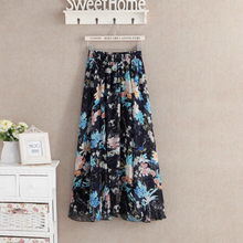 Vintage High Waist Pleated long Skirt Women Houndstooth Floral Print casual Skirts Bohemian loose faldas pencil skirt summer