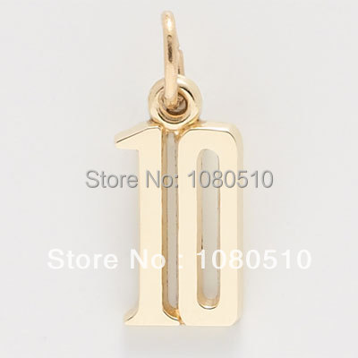 Fashion zin calloy gold plated number 10 charms for jewelry making(China (Mainland))