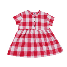 Hot Sale Girls Short Sleeve Dress Cotton Fashion Tartan Design Plaid Pattern Lovely Summer Kids Dress 2 Color