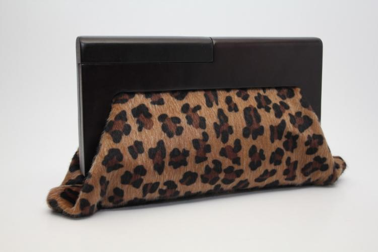 European and American Style fashion 2015 designers women clutch bag Leopard Wooden handle handbag girls party clutch(China (Mainland))