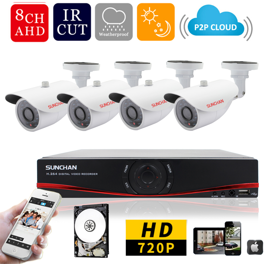 SUNCHAN 8CH 720P AHD DVR KIT 4PCS 1200TVL CCTV System  8CH Video Recorder 720P 1.0 MP Outdoor Security Camera System 1000G HDD<br><br>Aliexpress