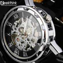 2015 hot Selling New Automatic Mechanical Skeleton Black Leather Wrist Silver Auto Men's Watch Wristwatch Dropship Relogio New(China (Mainland))