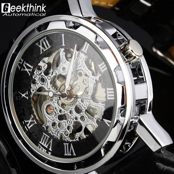 2015 горячая распродажа новая автоматическая механическая скелет черная кожа наручные серебряный авто мужские часы стимпанк наручные часы Relogio новый