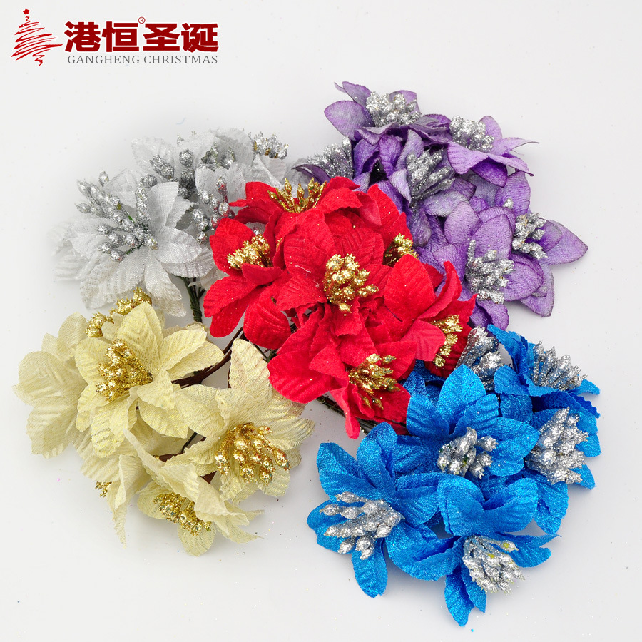 5cm 6pcs/lot Silk artificial Stamen Bud Bouquet flower for home Garden wedding Car corsage decoration crafts plants XmasF016(China (Mainland))
