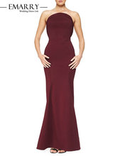 SZ044 Hot Sale Wine Red Strapless Long Evening Dress Sexy Off the Shoulder Sleeveless Stain Long Party Dress Robe De Soiree(China (Mainland))