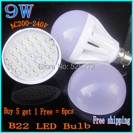 Buy 5 Get 1,Free 6X B22 Bayonet led bulb 220V240V 5W7W9W15W LED SMD2835 Globe Light Bulbs Ball Lamp Spotlight White/Warm white(China (Mainland))