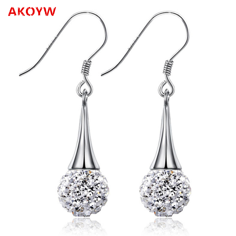 Super flash tassel long paragraph, Ms. Shambhala ear pendant crystal teardrop-shaped earrings popular Silver plated(China (Mainland))
