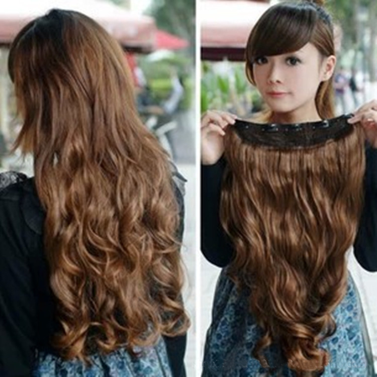 One Piece Womens Girls Long Curl Wavy Hair Extension Clip Light Brown synthetic wavy hair extensions - Uri's Bag Factory store