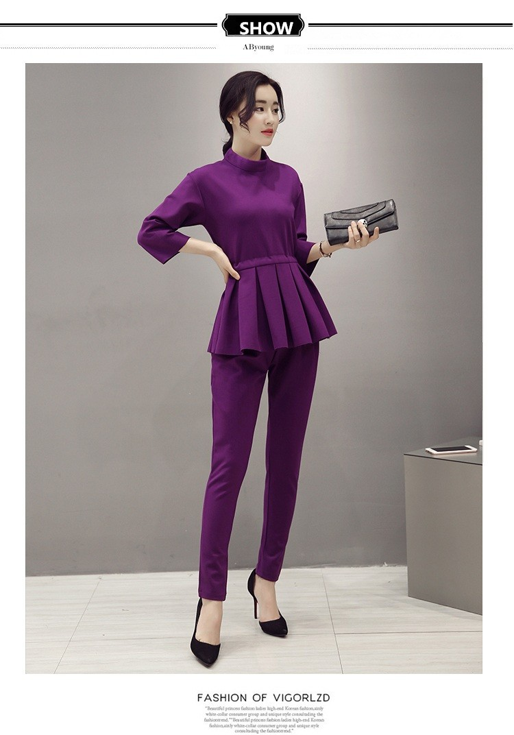 Women Casual Pant Suits 2016 Spring Brand New Ladies Half Sleeve Elegant 2 Piece Set Women Loose Tops And Pencil Pants