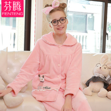 2016 Sale Sexy Male Pajamas Finthen Coral New Autumn And Winter Warm Sweet Lovely Cartoon Home Furnishing Thickened Suit(China (Mainland))