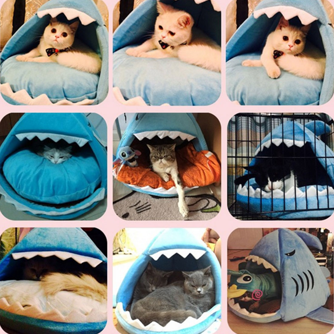 2 Size Pet Products Warm Soft Dog House Pet Sleeping Bag Shark Dog Kennel Cat Bed Cat House(China (Mainland))