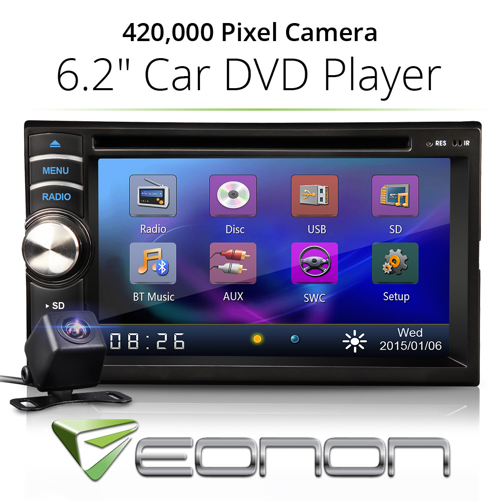 "In Dash 6.2"" Double 2 Din Car Stereo Radio DVD CD Player Bluetooth + Camera(China (Mainland))"