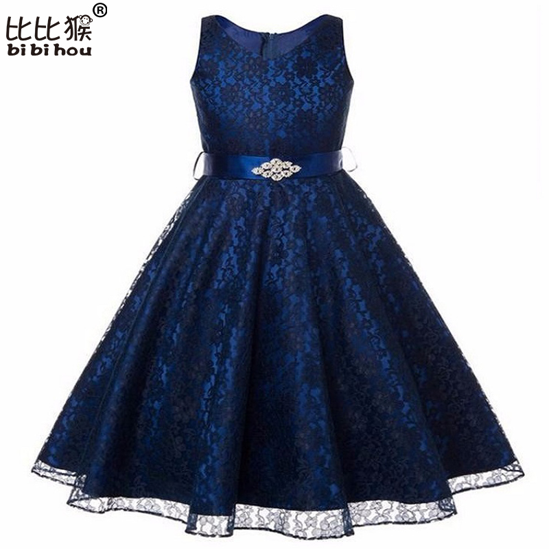 2017 Lace Girl Dress Long Formal Dress For Girls Kids Party Wear Princess White Wedding Evening Prom Party Gown Dresses For Girl(China (Mainland))