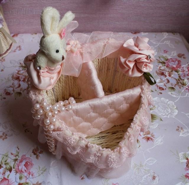 Furniture princess storage basket mobile phone home remote control basket decoration wedding gift