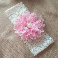 Chiffon Flower with Rhinestone Pink  Bridal Lace garter