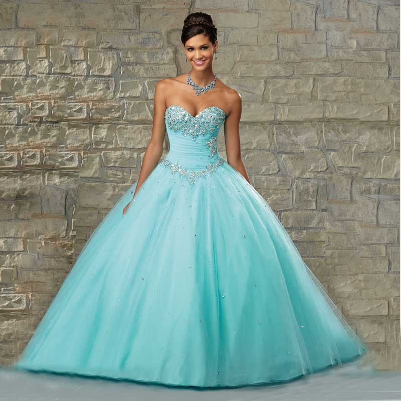 2016 New Blue Quinceanera Dresses Ball gown for 15 years Sequined Tulle Beads Sweetheart Sweet 16 dress Vestidos De 15 Anos(China (Mainland))