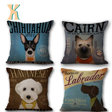 Lovely Pet Dog Cat Printed Vintage Cotton Linen Pillow Cover Cushion Cover