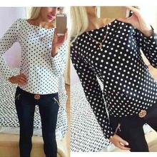 Buy Women fashion 2017 new round collar camisa dot chiffon wave point long-sleeved shirt clothes hot summer women blusas for $3.50 in AliExpress store