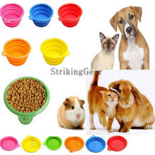 1 pc hot selling Nice Dog Portable Silicone Collapsible Travel Feeding Bowl Water Dish Feeder pet accessories(China (Mainland))