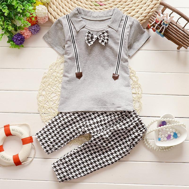 2PCS/0-3T/Summer Style Korean Children Clothing Fashion Gentleman Suit Short Sleeves T-shirt+Shorts Baby Boys Clothes Set BC1134(China (Mainland))