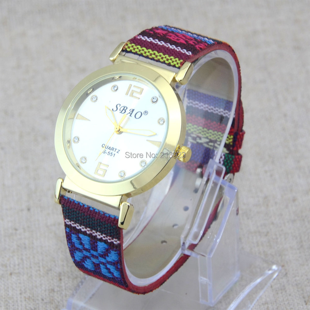Fashion Color Fabric Leather Strap Womens Watches Diamond Golden Numerals Dial Leather Quartz Wrist Watches