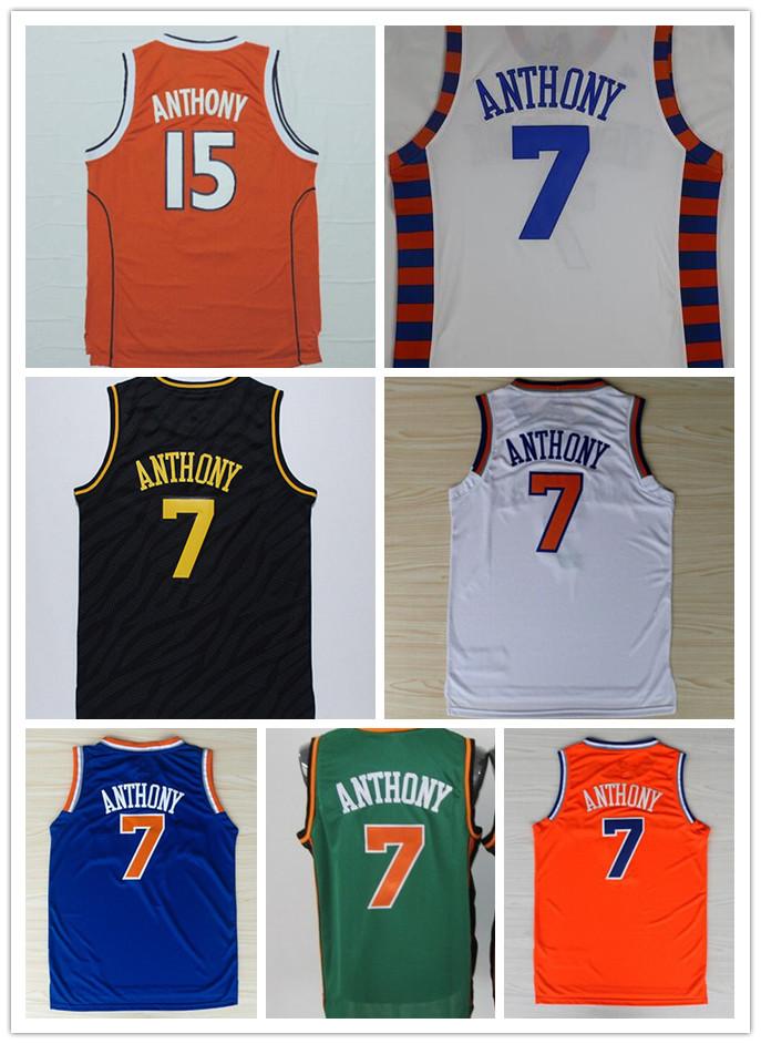 Top Quality NWT 7 Carmelo Anthony Basketball Jersey College SYRACUSE 15 Carmelo Anthony Sports Shirt Blue Orange White Black(China (Mainland))