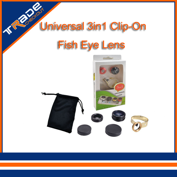 Universal 3in1 Clip-On Fish Eye Lens Wide Angle Macro Mobile Lens For iPhone 6 plus 6 for Samsung Galaxy S4 S5 fisheye (black)