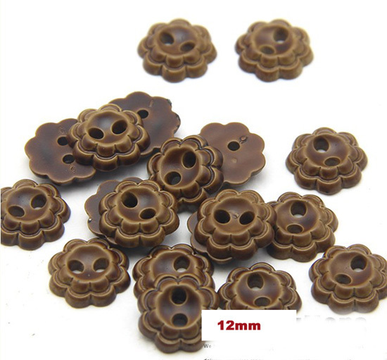 12mm Nice flower shape buttons,light coffee color sewing plastic button,2 holes buttons for garment(ss-1773)(China (Mainland))