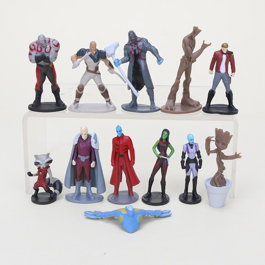 12pcs/set 4-6cm Animal Guardians Galaxy Star-Lord Groot Rocket Raccoon PVC Action figure model toys collection