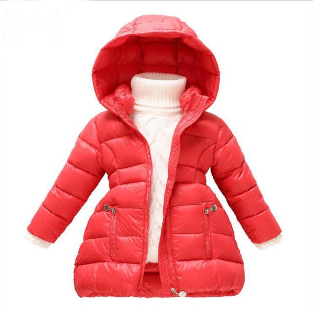Высокое качество НОВОГО 2015 Мода Новорожденных Девочек Зимнее Пальто девочки пуховик средней длины толстые средние и большие вниз пальто