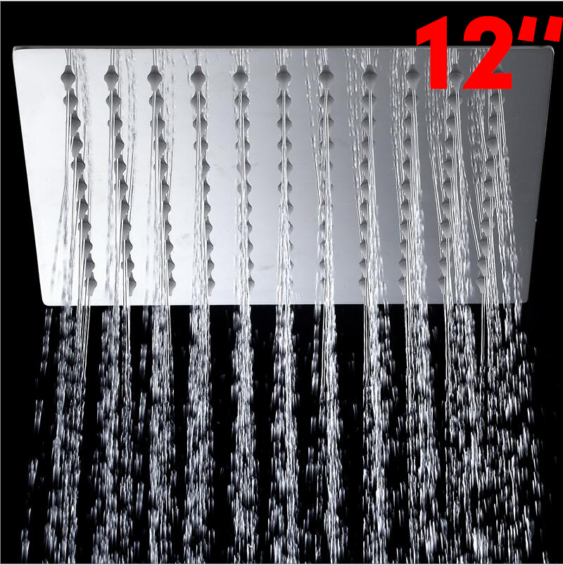 US-W 5 Years Warranty Ultra-thin Square Stainless Steel Rainfall Shower Head Top Shower 12 inch Shower Head Without Shower Arm(China (Mainland))