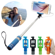 Portable Mini Folding Mobile Phone Wired Self Selfie Sticks For IOS&Android Built-in Shutter Selfie Monopod Tripod Gifts Rainbow