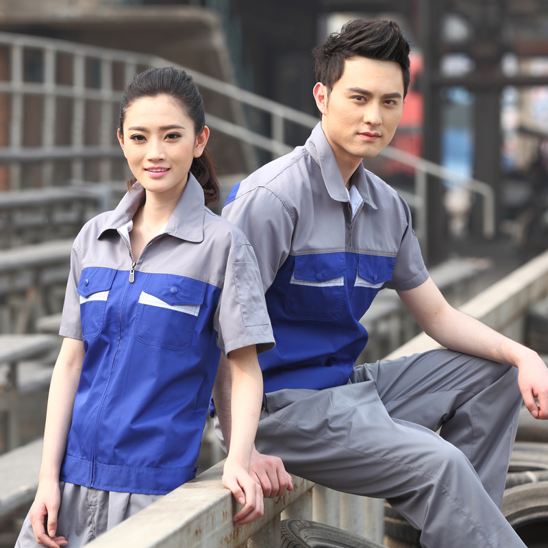 10sets Summer work wear set workwear car beauty work wear facotry clothing auto repair man uniforms porter uniform wholesale(China (Mainland))