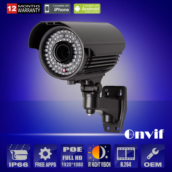 P2P 1080P HD Varifocal 2.8-12mm Lens Low illumination IP Camera Outdoor CCTV Infrared Video Surveillance Security Camera(China (Mainland))