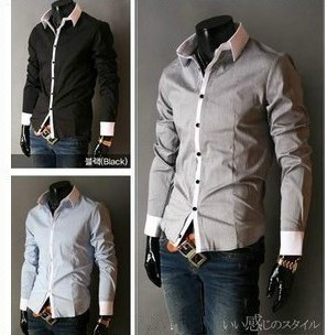 2015 Free Shipping New Mens Casual Slim Fit Stylish Dress Shirts,shirts for men size 5 colors M-XXXL YS906