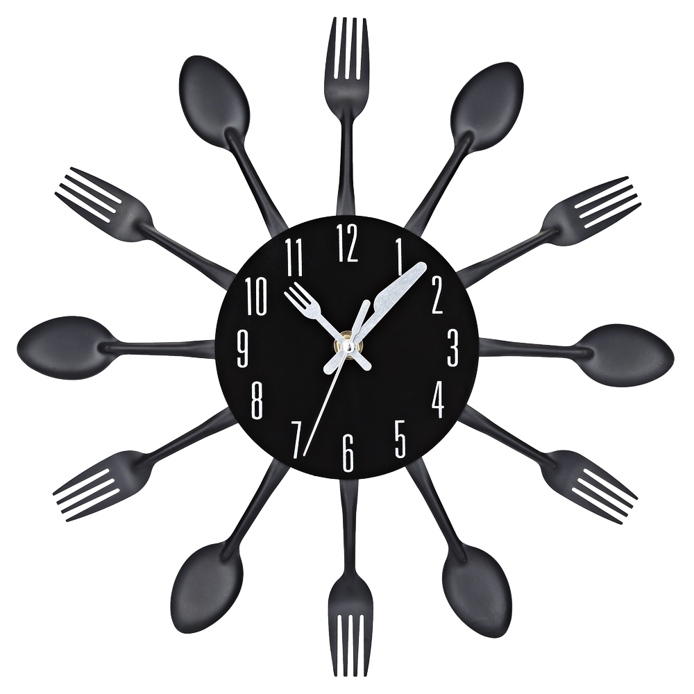 2017 3D Wall Clock Stainless Steel Knife Fork Modern Design Large Kitchen Wall Watch Clocks Quartz For Home Office Decor 4 Color(China (Mainland))