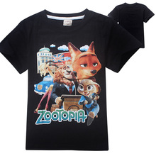 New summer cartoon Zootopia kids boys girls short sleeve T shirt brand cotton kids clothing for 3-12Y
