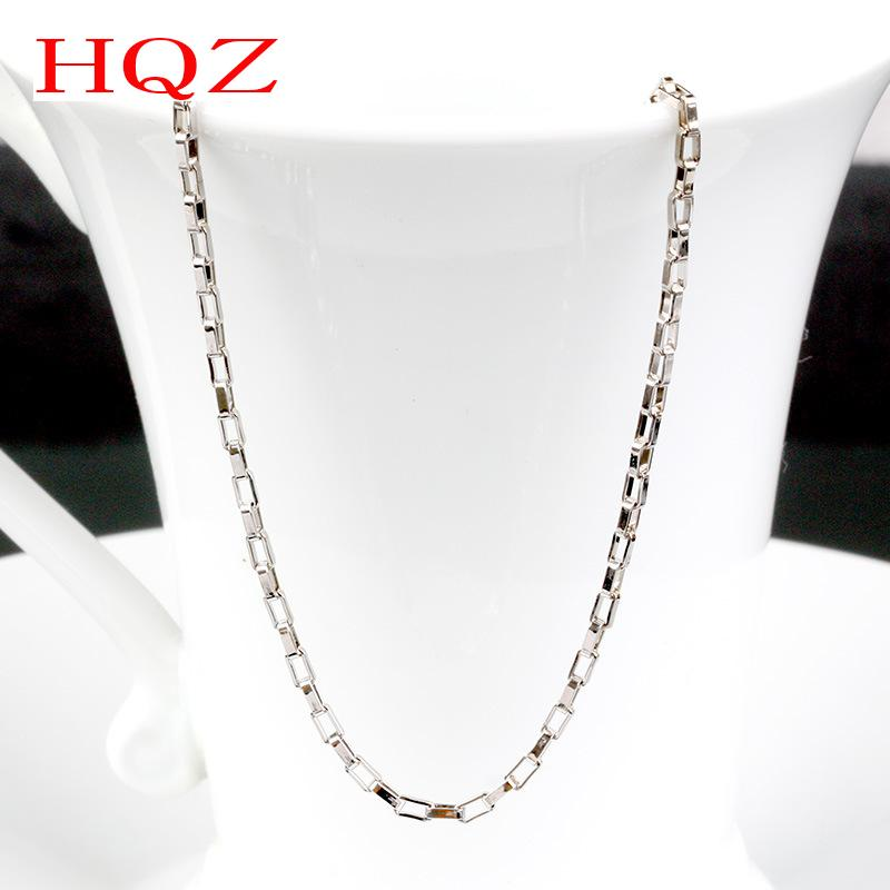 2016 Fashion 18 inch Rectangular Men Women chain necklace link couple necklace male female model Silver plated jewelry wholesale(China (Mainland))