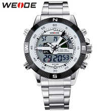 WEIDE Luxury Brand Men Watches Sports Diver Military Watch LCD Luminous Analog Digit Dual Time Display Date Week Alarm Rubber