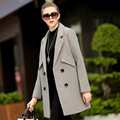 Free shipping 2016  Winter Long Wool Bodycon White Basic Office Coats Womens fashion Overcoat High-end cashmere Trench Sent fur