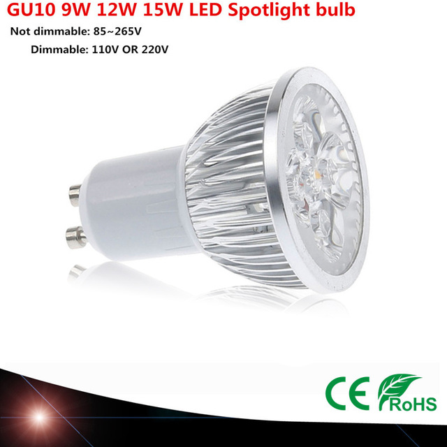 GU10 9W 12W15W DIMMABLE 110V 220V 230V LED bulb Spot Light 60 Beam Angle Warm / Cold white LED lamp(China (Mainland))