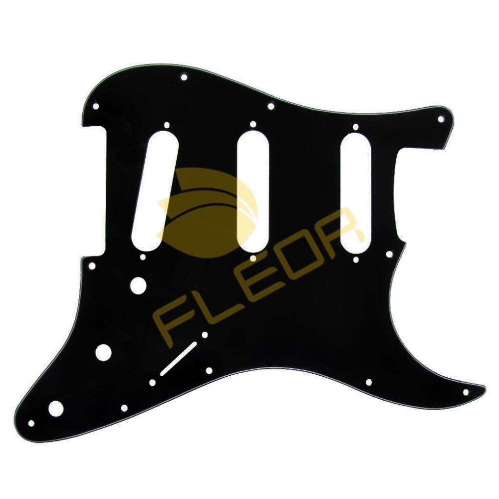NEW 10pcs 3Ply 11 Holes Scratch Pickguard Plate Guitar Pickguard Strat SSS Black(China (Mainland))