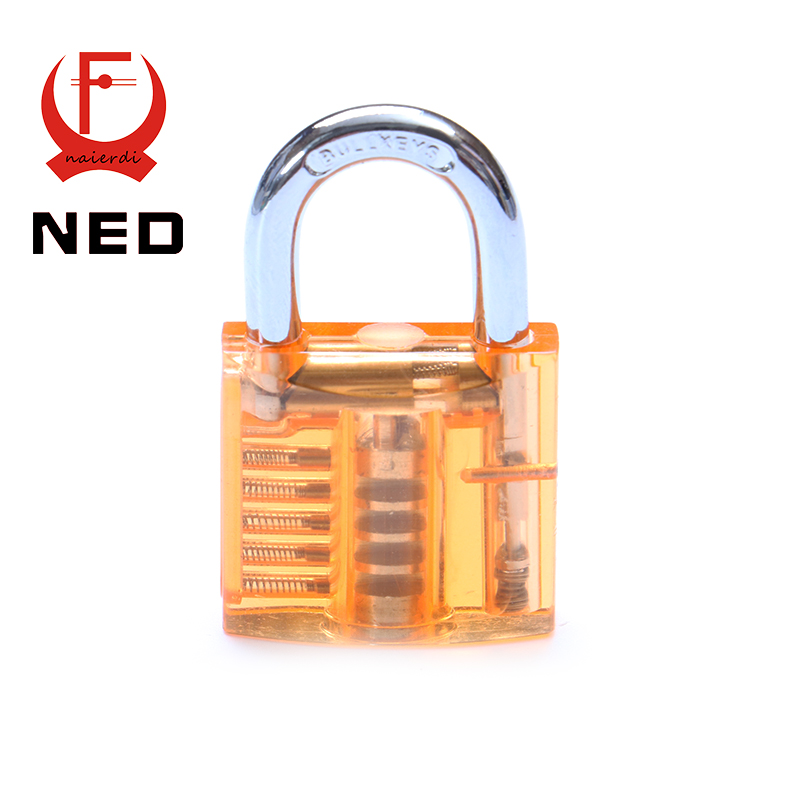 NED Orange Transparent Design Modern Style Visible Pick Cutaway Mini Practice View Padlock Lock Training Skill For Locksmith(China (Mainland))