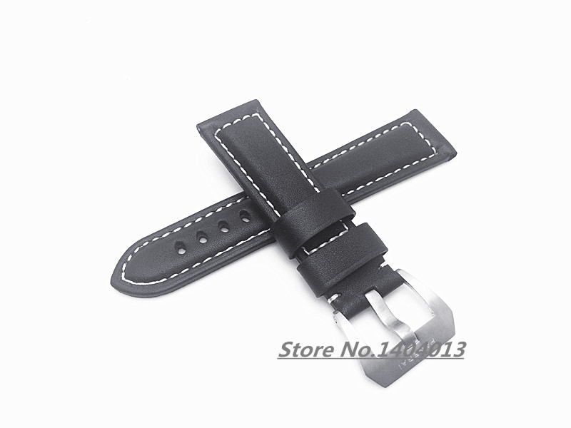 22mm (buckle 20mm) New MEN Silver(Brushed) PIN Buckle Black Thick Smooth Genuine Leather Watch band Strap For PAN<br><br>Aliexpress