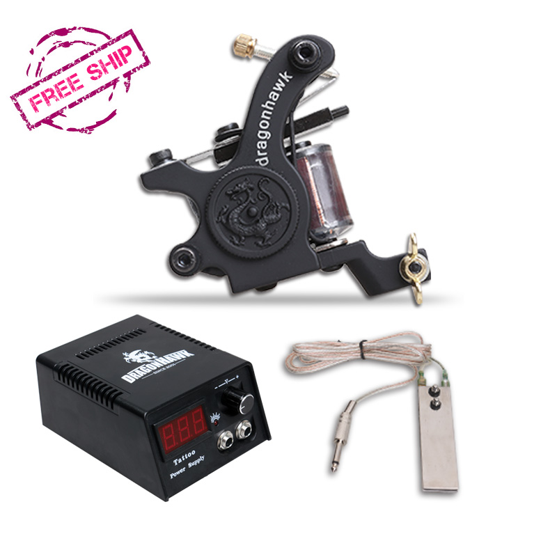 Free Shipping Cheapest Tattoo Guns For Beginner Tattoo Machine Kit Supplies(China (Mainland))