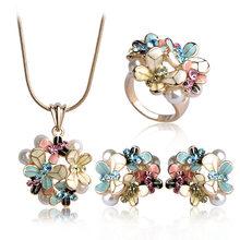 Blucome סימולציה פרל אמייל תכשיטי סטים כחול פרח שרשרת עגילי טבעת סט לנשים כלה Bijoux אביזרי חתונה(China)