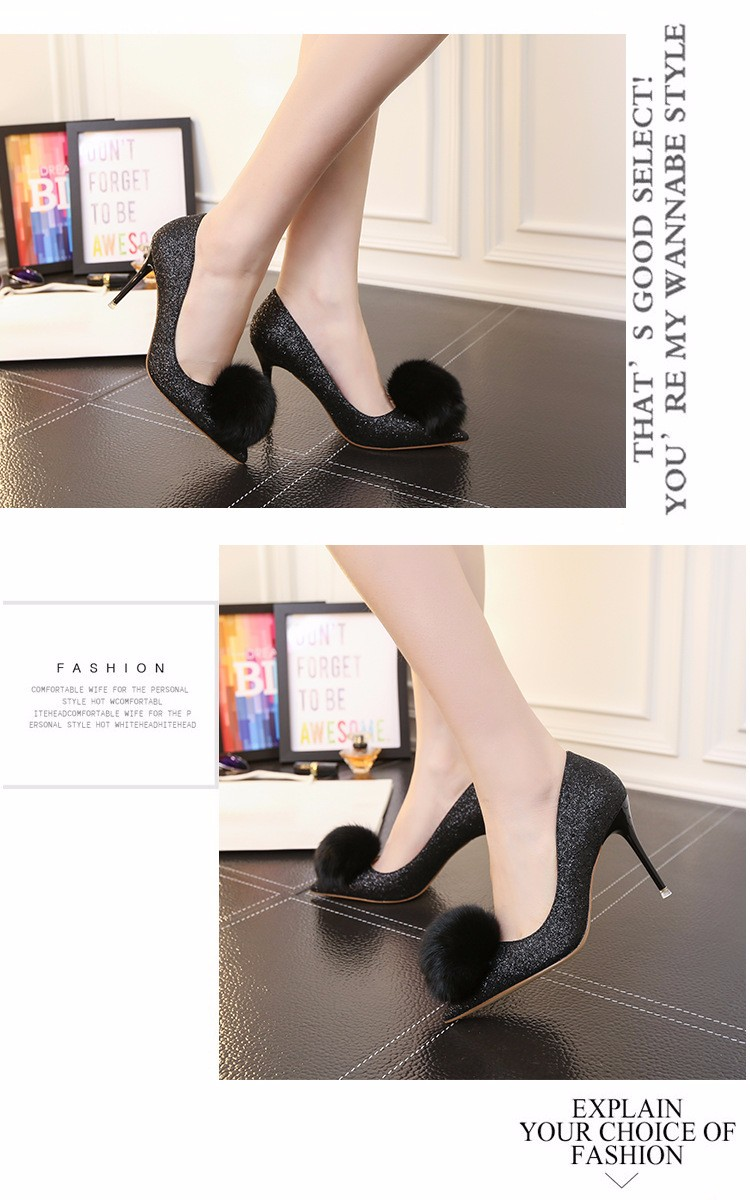 2016 New Sequined Tassel Style Thin High Heels Pointed Toe Pumps For Women Spring Fall Women Pumps Shoes Sliver Black ZM3.0