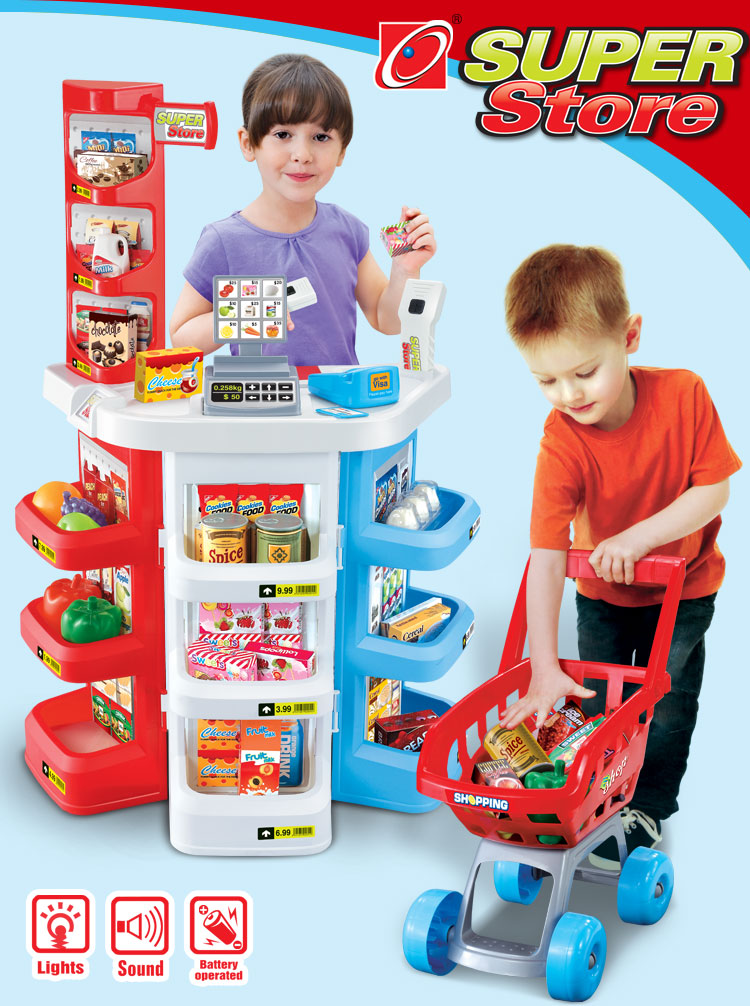 armario de cozinha Play house toy supermarket cash register cart shelf set fun toy pretend play imitate cashier salesclerk kids(China (Mainland))
