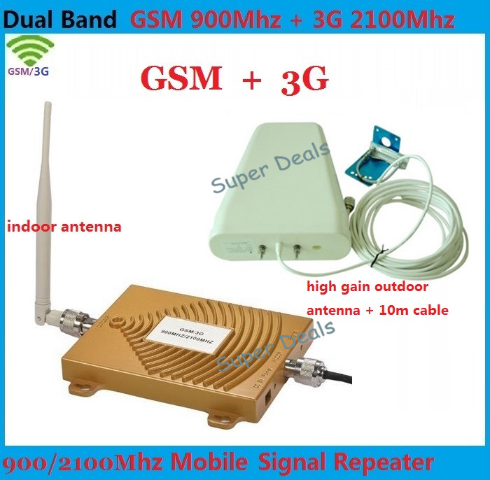 Dual Band 65dbi 3G CDMA 2100MHz + GSM 900Mhz GSM 3G Repeater , 2G 3G GSM Mobile Phone Signal Repeater 3G GSM Booster Amplifier(China (Mainland))